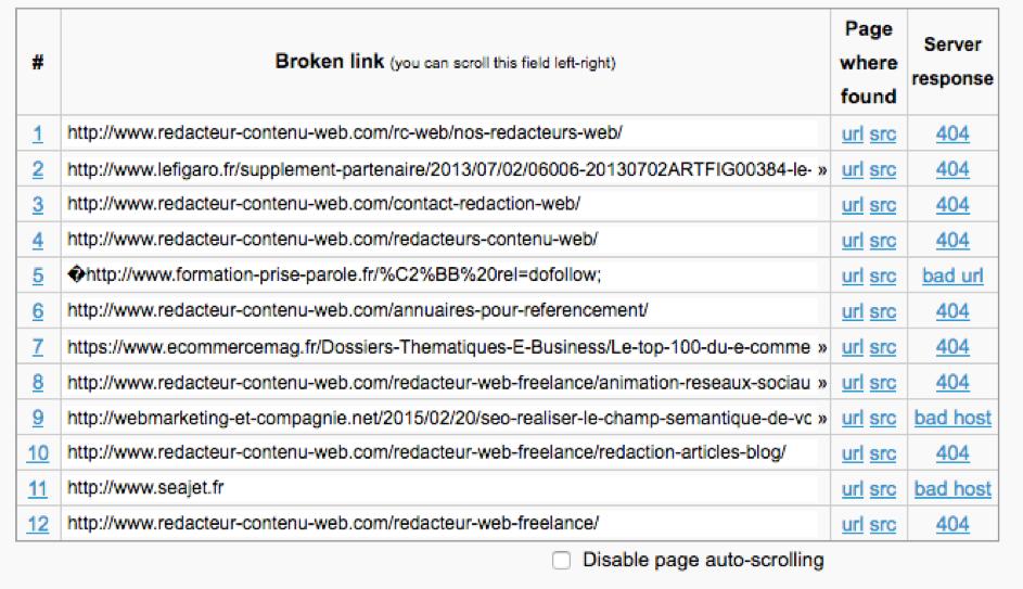 Trouver erreur 404