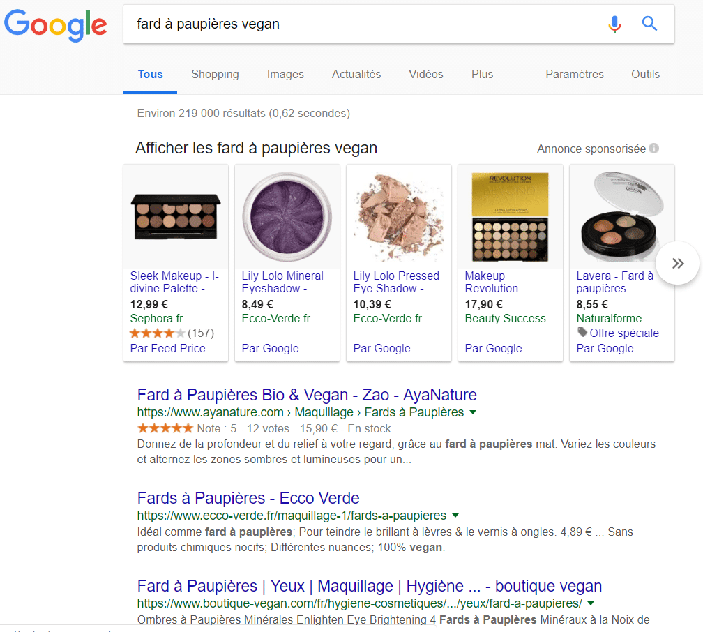 requete google fard a paupieres vegan