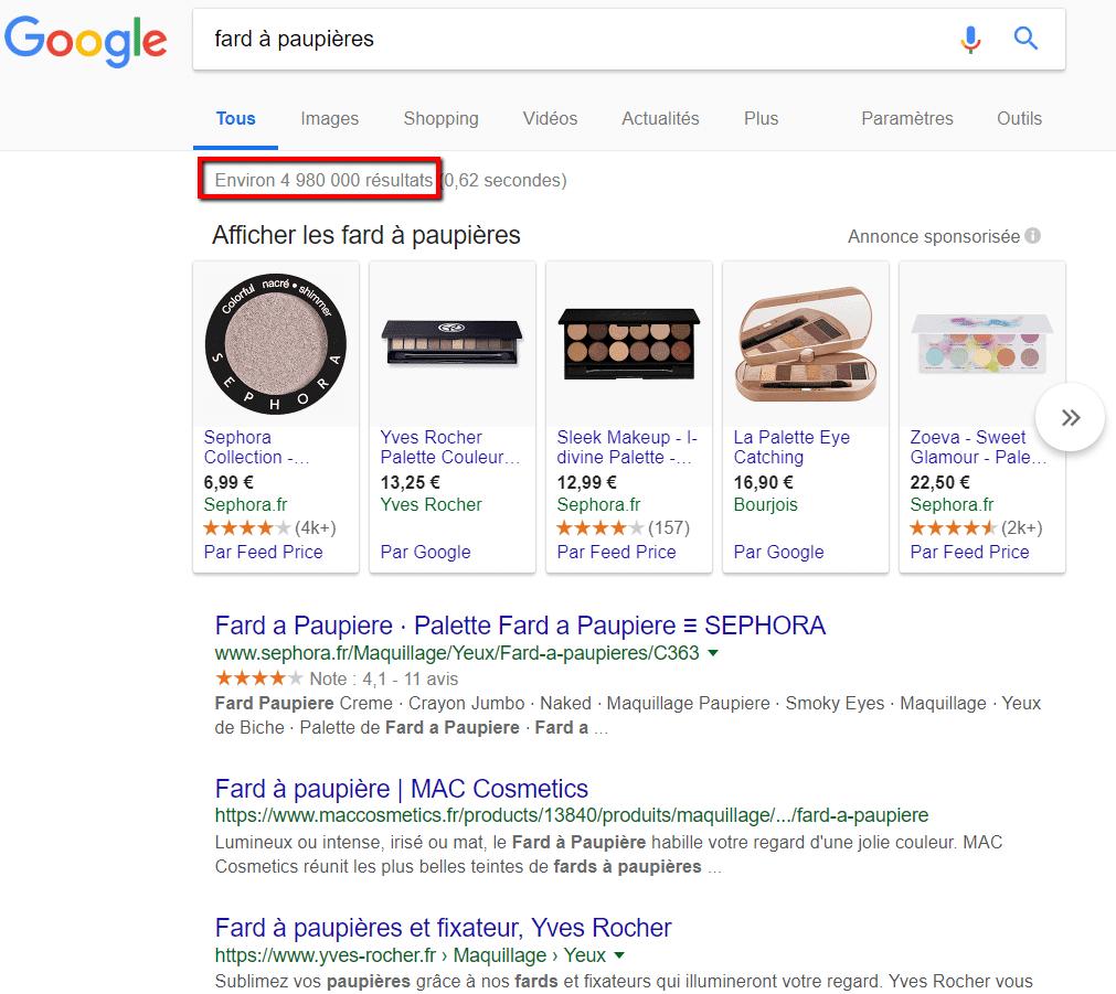 """requete google mot-clé """"fard a paupieres"""""""