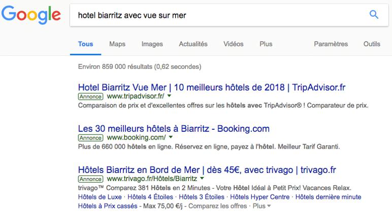 resultats google hotel biarritz avec vue sur mer
