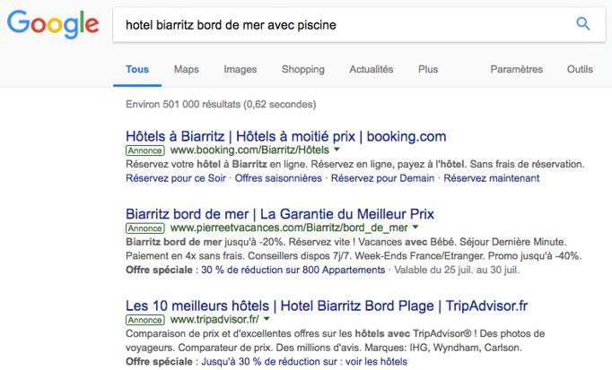 resultats google hôtel Biarritz bord de mer avec piscine