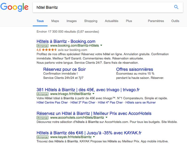 Résultats Google Hôtel Biarritz