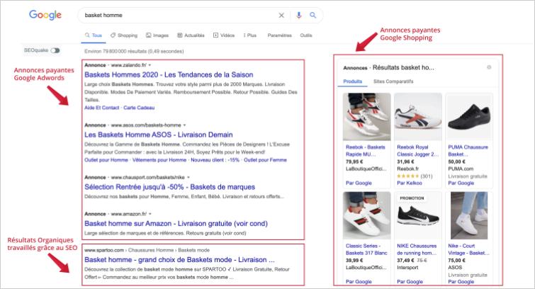 Résultats Naturels et Payants dans Google